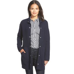 Lafayette 148 Ribbed Snap Front Sweater Coat